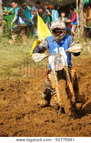racer in Competition At Motorcycle Race