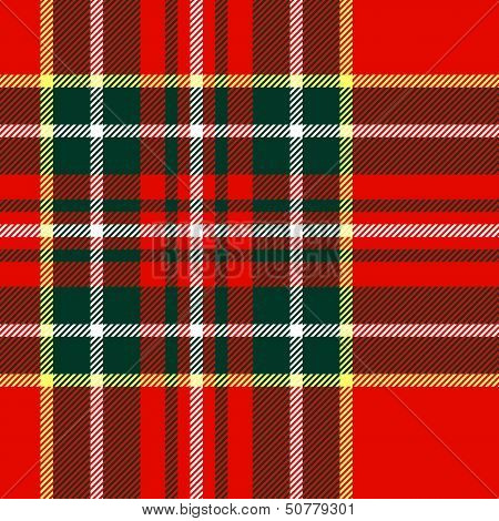 Tartan traditional checkered british fabric seamless pattern, red and green, vector