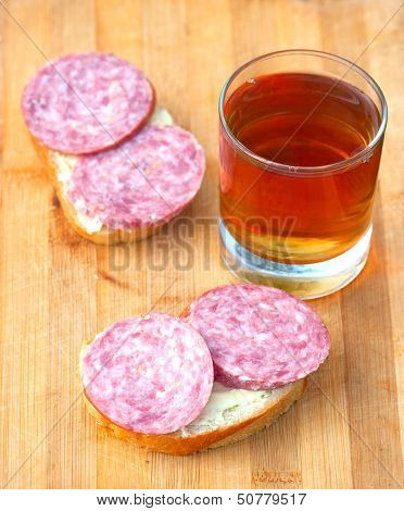 Open Sandwich With Sausage