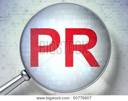 Marketing concept: PR with optical glass