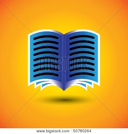 Abstract Digital Book Or E-book Sign On Orange Background - Vector Graphic.