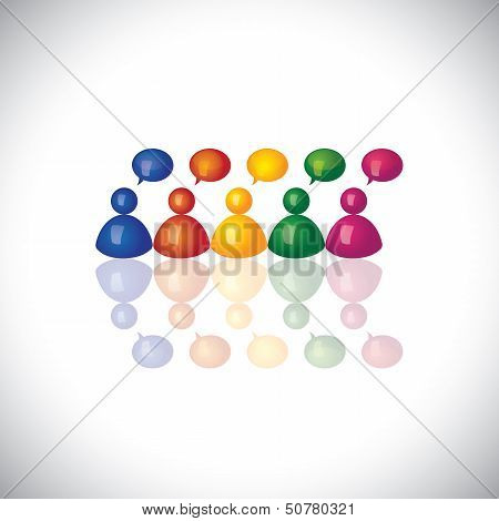 Colorful 3D Office Staff Or Employees  Icons Talking & Chatting - Vector Graphic