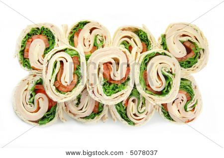 Turkey Wrap Sandwiches On White