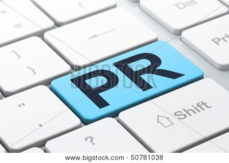 Marketing concept: PR on computer keyboard background