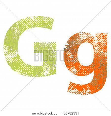 Multicolor grunge letter.
