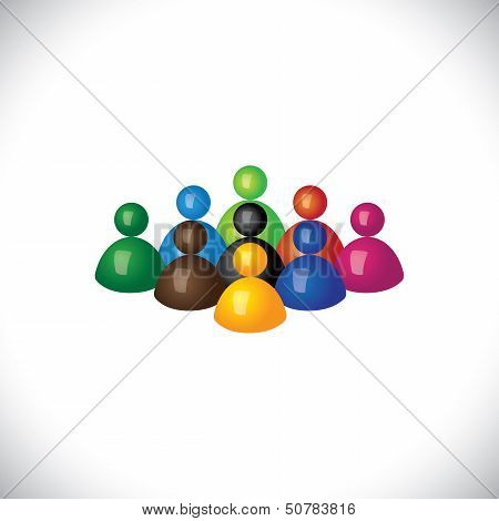 Colorful 3D Group Of Diverse & United People Icons Or Signs - Vector Graphic