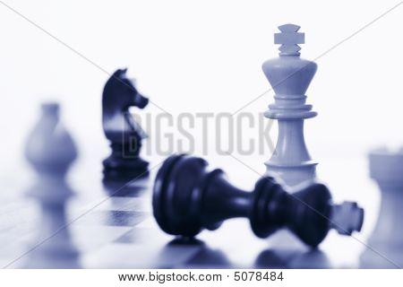 Chess Game White King Defeating Black King