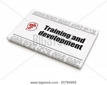 Education news concept: newspaper with Training and Development