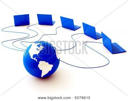 Erde ist Kabel aufgereiht