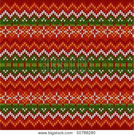 Red zigzag stripes vector knit seamless pattern