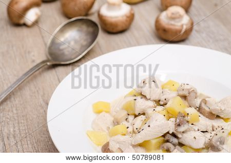 Fricassee From Turkey On A White Plate