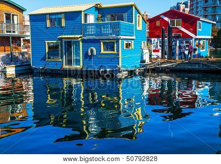 Floating Home Village Blue Red Houseboats Fisherman's Wharf Reflection Inner Harbor, Victoria Vancou