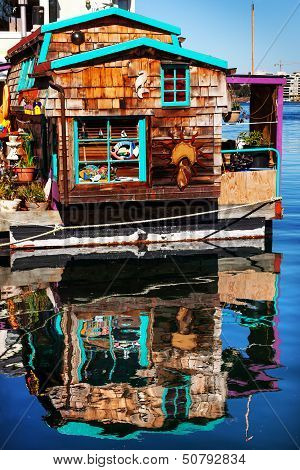 Floating Home Village Brown Houseboat Fisherman's Wharf Reflection Inner Harbor, Victoria Vancouver