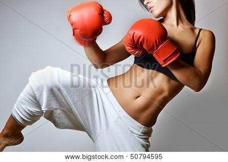 mulher bonita de boxe