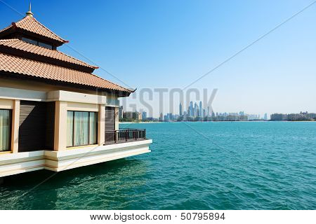 The View From Luxury Villa On Palm Jumeirah Man-made Island On City, Dubai, Uae