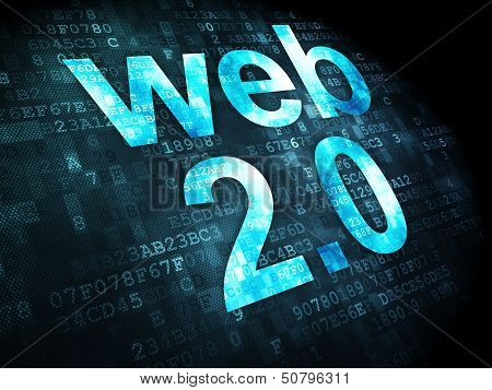 SEO web design concept: Web 2.0 on digital background