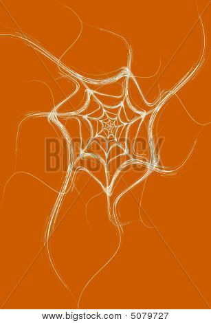 White Fractal Spider Web On An Orange Background