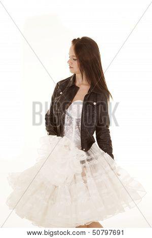 Fun Dress Black Jacket Looking Down