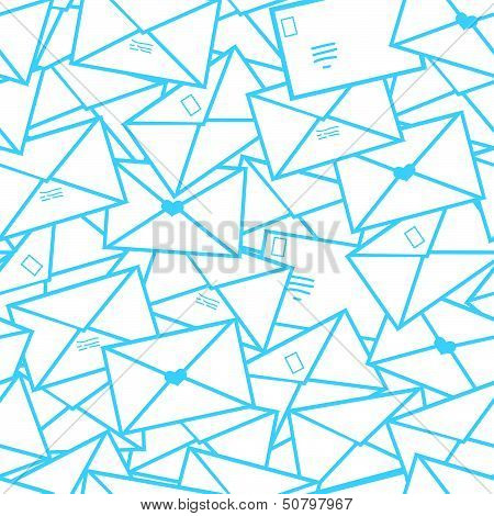 Postal letters envelopes line art seamless pattern background