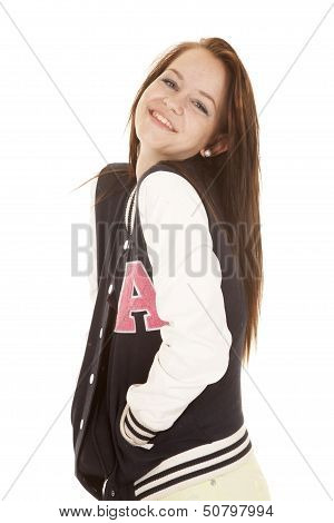 Smile Letterman Jacket Happy