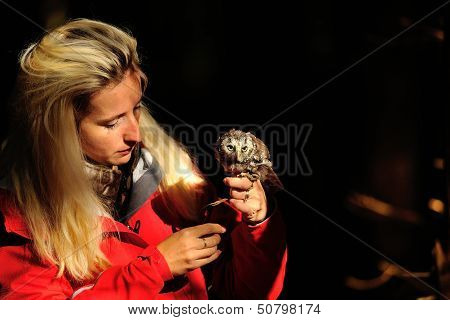 Blond Falconry Lady With Boreal Owl