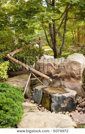 Water Fountain In Japanese Garden