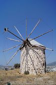 stock photo of gumbet  - Aegean style old mills in Bodrum Turkey - JPG