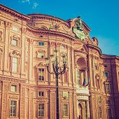 picture of turin  - Vintage looking Palazzo Carignano seat of the first Italian houses of parliament Turin Italy - JPG