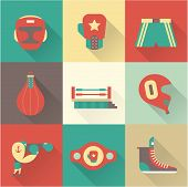 stock photo of boxing ring  - Vector Boxing icons - JPG