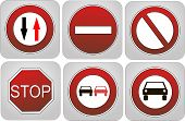 stock photo of traffic rules  - Group traffic rules prohibiting signs - JPG