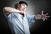 stock photo of rap  - Rapper attitude rap singer hip Hop Dancer performing - JPG