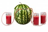 stock photo of catheter  - watermelon and three glasses of juice in the catheter - JPG