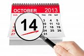 Happy Columbus Day Concept. 14 October 2013 Calendar With Magnifier