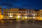 picture of tenement  - Armenian tenement houses in the Great Market square in Zamosc Poland - JPG
