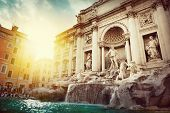 stock photo of piazza  - Baroque Trevi Fountain  - JPG