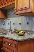 image of granite  - Granite Kitchen Countertop and Wood Kitchen Cabinets - JPG