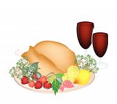stock photo of fruit platter  - An Illustration of Garnished Roasted Turkey with Berry Fruit Lemon Herb and Wine on A Platter for Thanksgiving Holiday Dinner - JPG