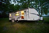 stock photo of hookup  - Modern 25 Feet Travel Trailer  - JPG