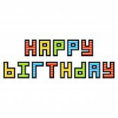 8-bit Pixel Art Happy Birthday Message