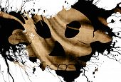 picture of skull crossbones flag  - old pirate flag in the colours black and white - JPG
