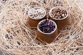 stock photo of pinto  - Close up photo of a beans in clay cup  - JPG