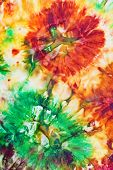 picture of batik  - abstract flower ornament of nodular painted batik - JPG