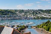 pic of dartmouth  - Boats and yachts in Dartmouth harbour Devon on the River Dart Kingswear side - JPG