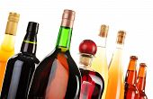 foto of ethanol  - Assorted alcoholic beverages isolated on white background - JPG