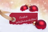 picture of weihnachten  - A Red Banner with the German Words Frohe Weihnachten Which Means Merry Christmas on It - JPG