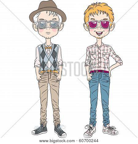 Vector Funny Cartoon Hipster Boys
