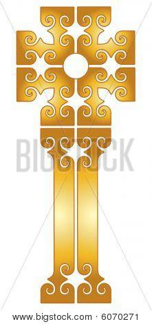 Ornate Gold Scroll Cross