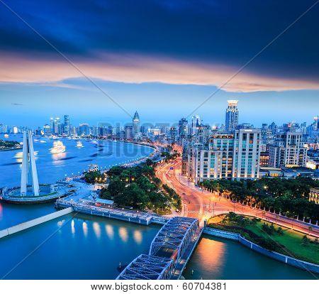 Shanghai The Bund With Sunset Glow
