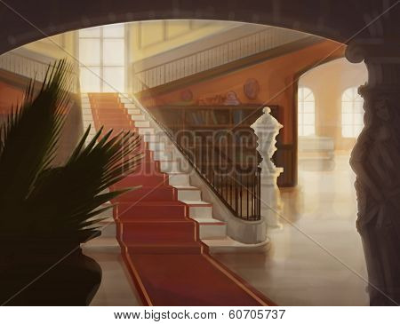 Interior Of Luxury Hall With Staircase Illustration
