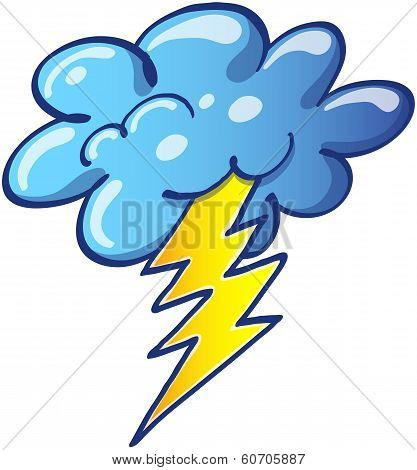 Stormy cloud with a thunderbolt